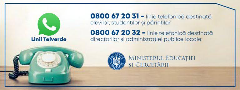 O linie TelVerde pentru elevi, studenți și părinți