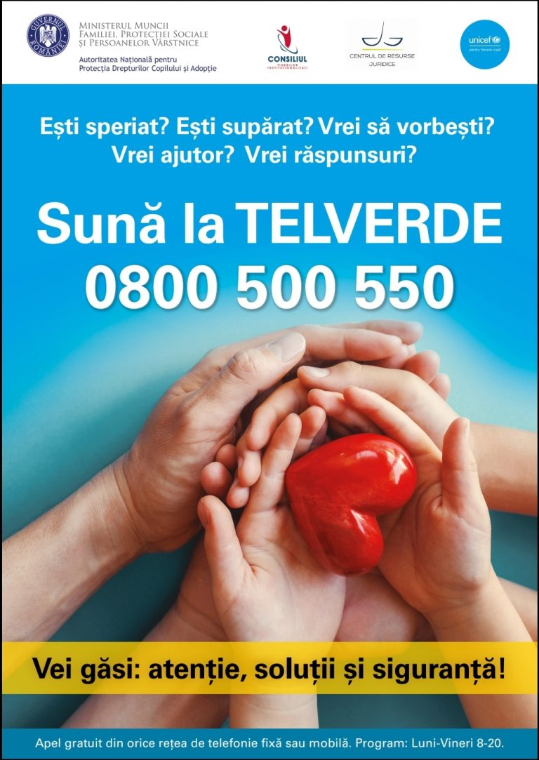 Telverde 0800 500 550, un număr gratuit în sprijinul copiilor și adulților instituționalizați