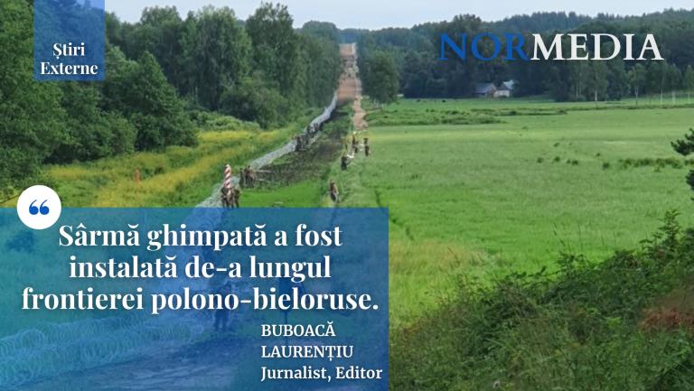 Sârmă ghimpată instalată de-a lungul frontierei polono-bieloruse